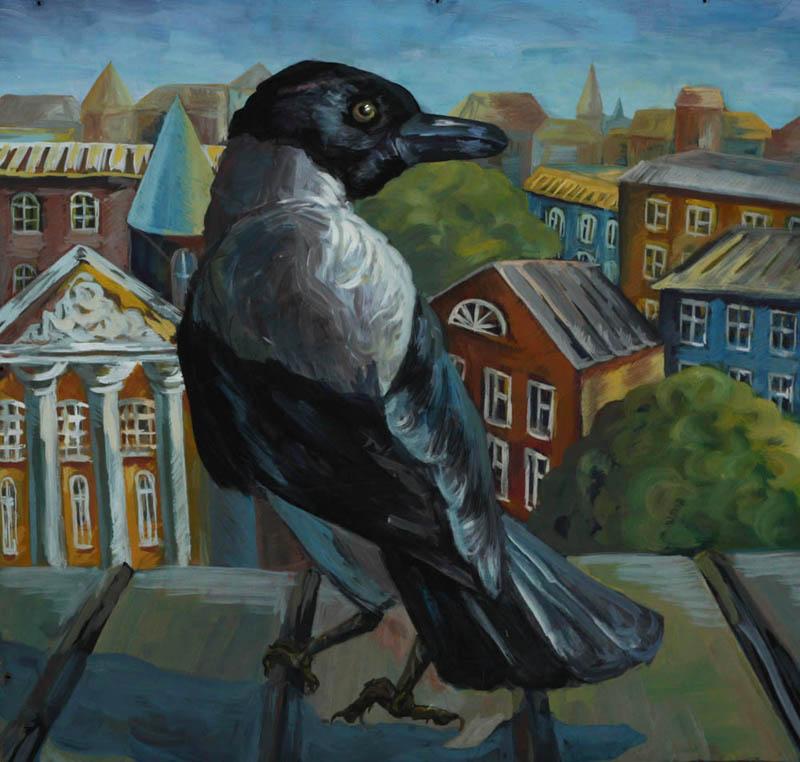 Картинка вороны на крыше