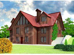 3d бревенчатый дом №1