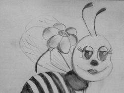 Эскиз пчёлки-девочки