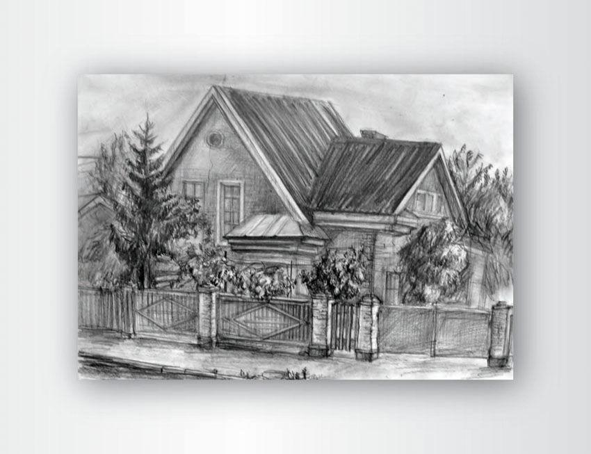 рисунок пейзаж домов карандашом фото проститутки