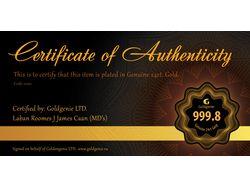 Сертификат подлинности изделия