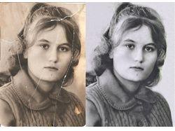 Реставрация черно-белой порванной фотографии