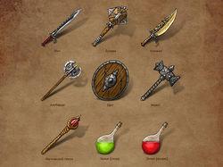 GAME design (оружие, магия, броня)