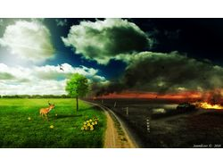 Иллюстрация - Nature vs Human