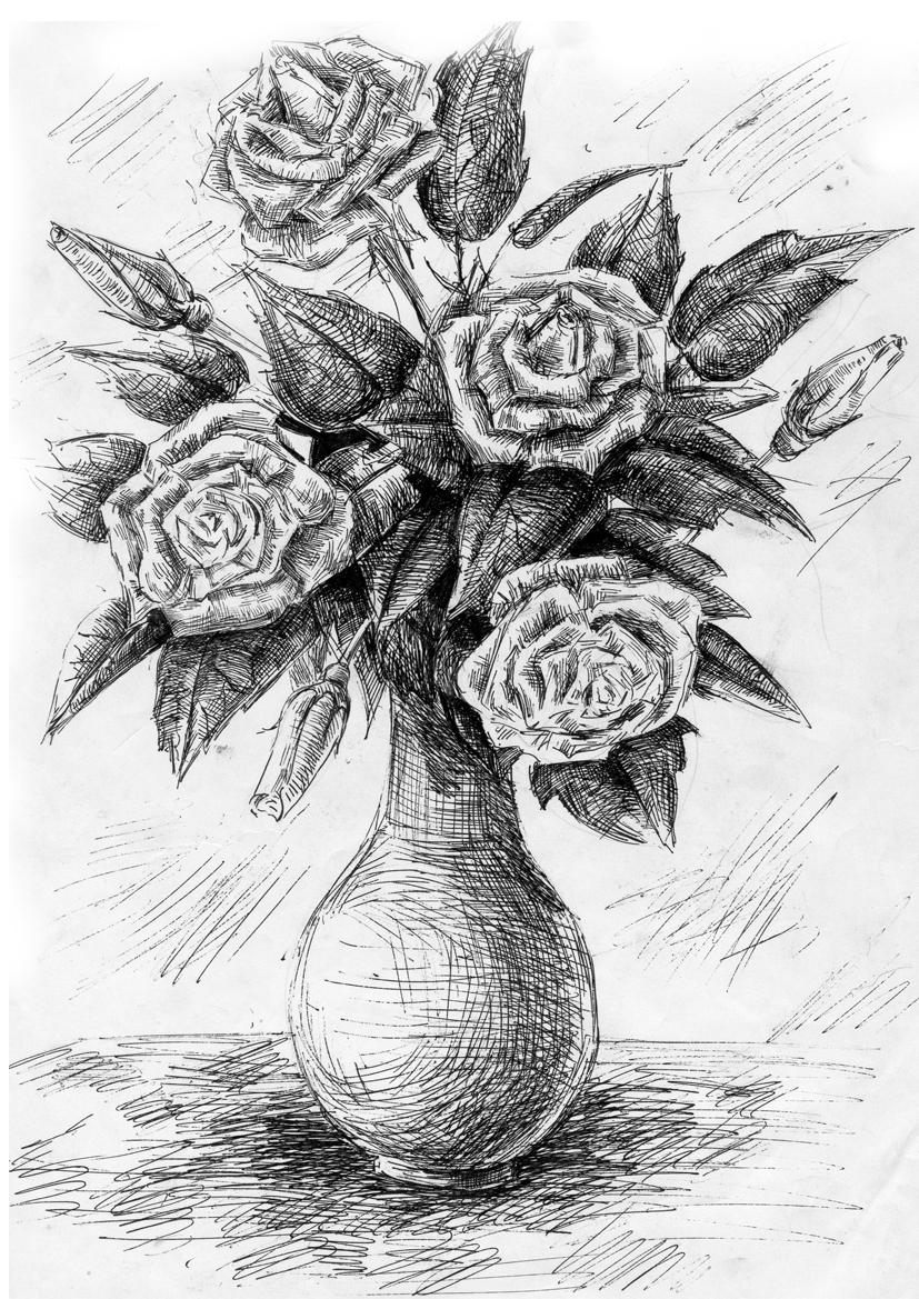 картинки черной гелевой ручкой розы нас