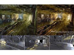 3д сцена лесопилка со сложным окружением эффекты