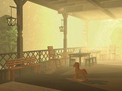 солнечный туман, загородная терасса
