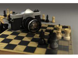 Шахматы и камера в 3d