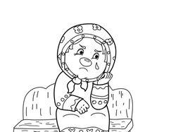 Эскиз бабушки к детской разукрашке