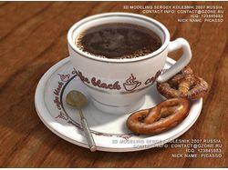 3д кофе и сушки для рекламы тв