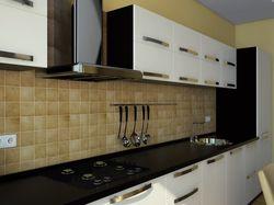 Интерьер трехкомнатной квартиры (кухня, вид 1)
