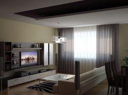 Интерьер трехкомнатной квартиры (гостинная, вид 1)
