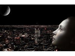 Девушка, город и луна