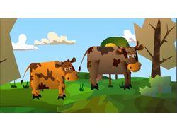 Коровка и бычок
