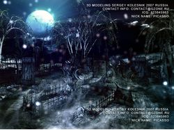 3д арт для игры ,кладбище